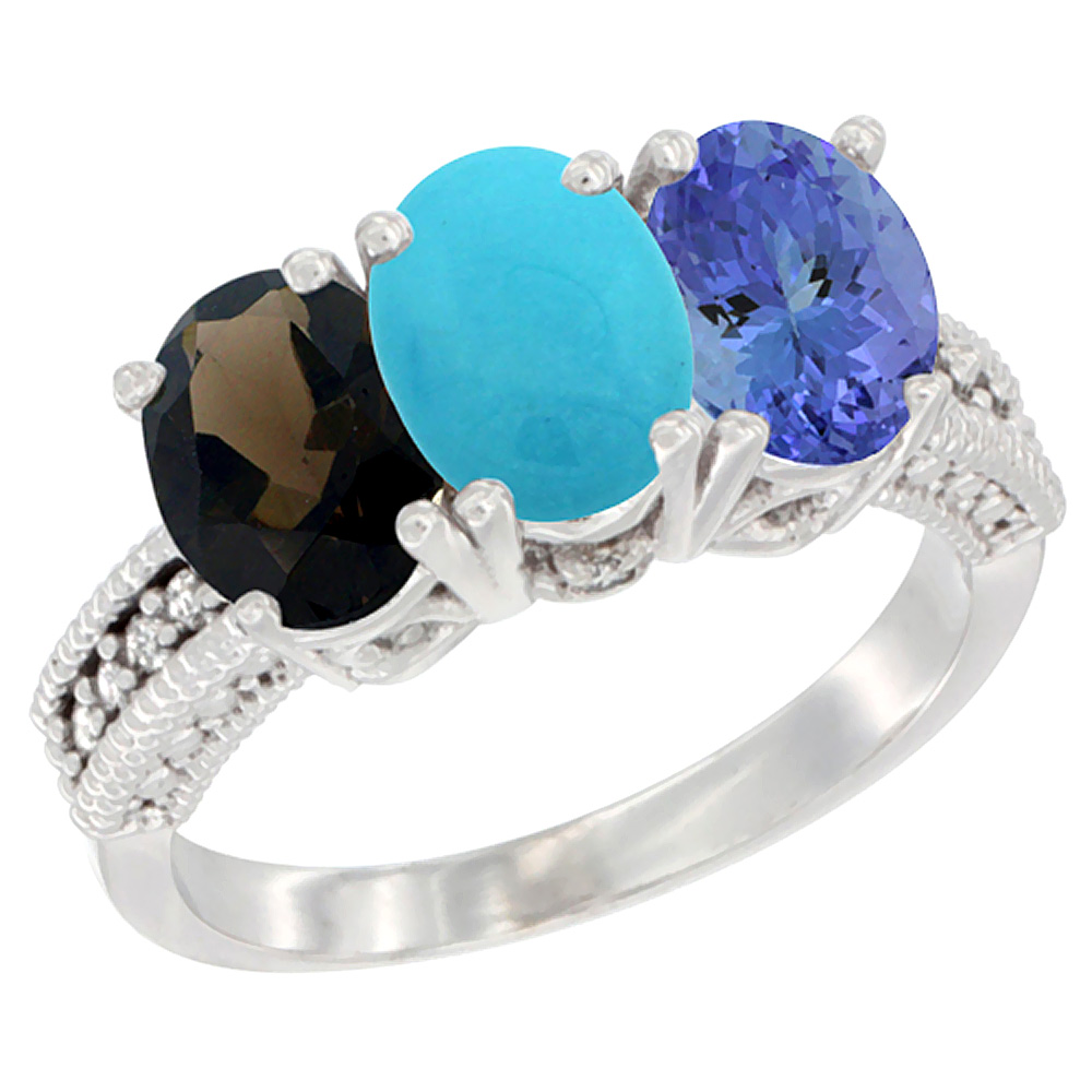 10K White Gold Natural Smoky Topaz, Turquoise & Tanzanite Ring 3-Stone Oval 7x5 mm Diamond Accent, sizes 5 - 10