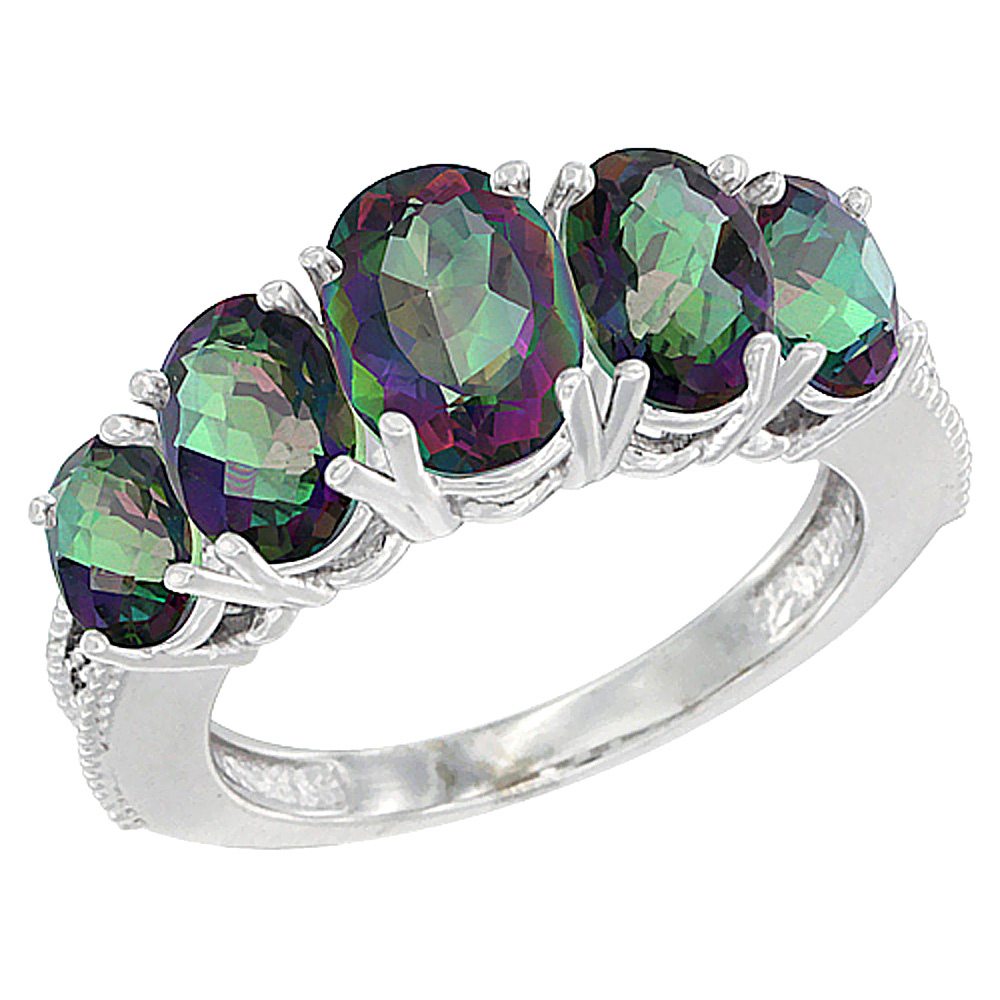 14K White Gold Diamond Natural Mystic Topaz Ring 5-stone Oval 8x6 Ctr,7x5,6x4 sides, sizes 5 - 10