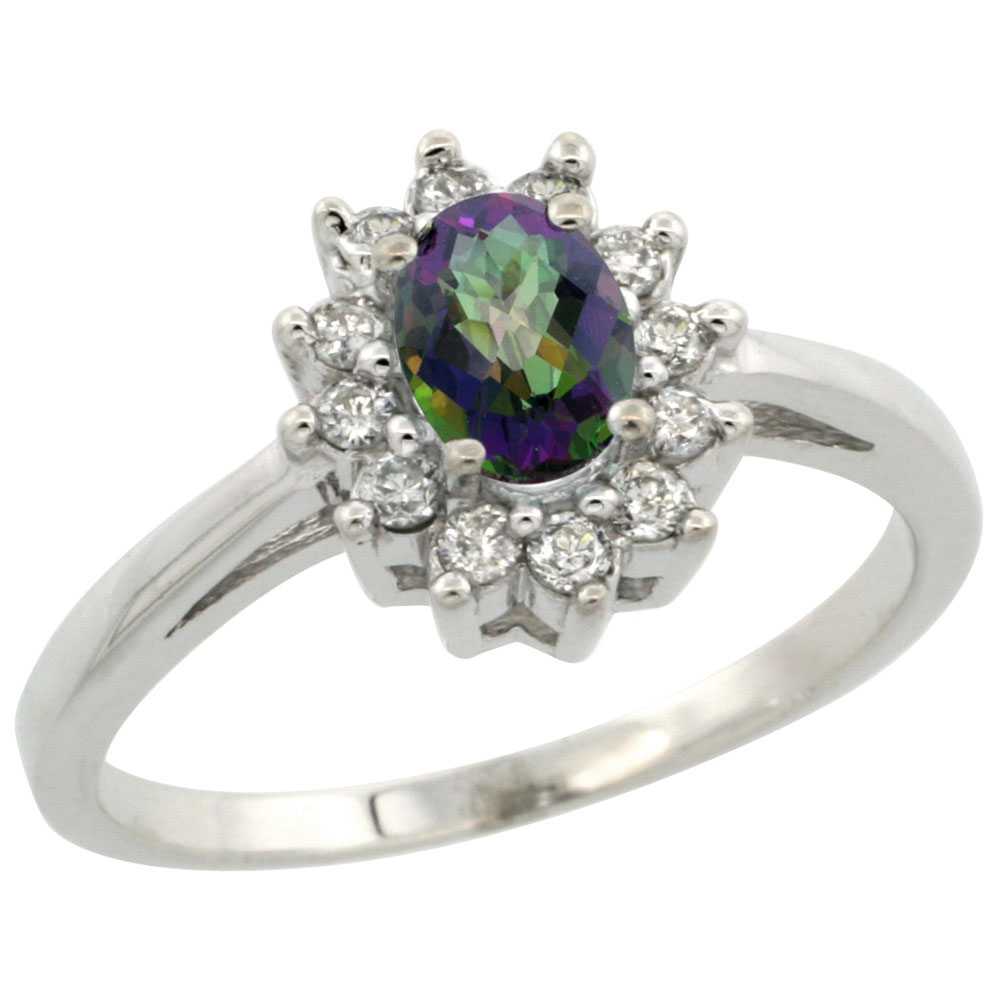 14K White Gold Natural Mystic Topaz Flower Diamond Halo Ring Oval 6x4 mm, sizes 5-10