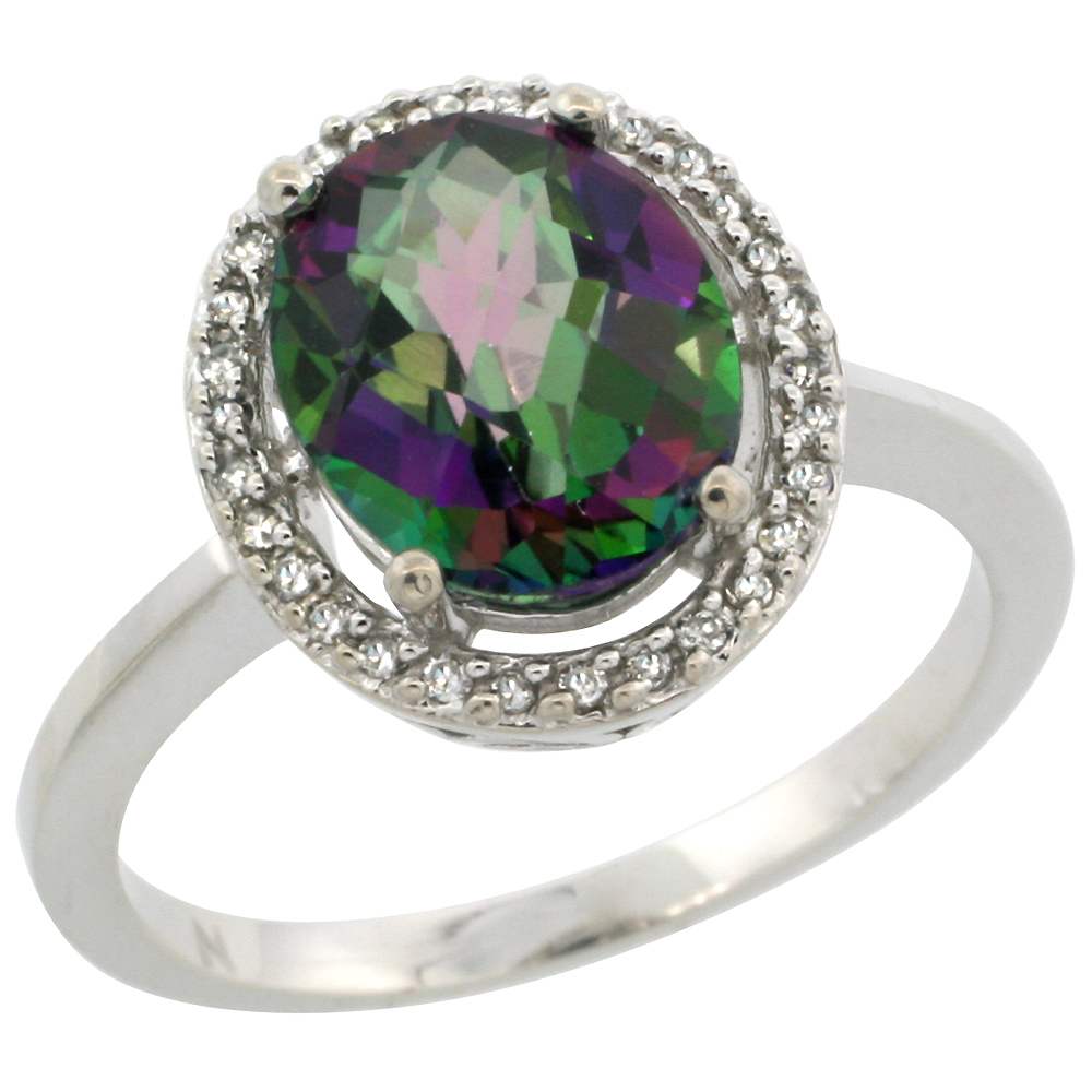 10k White Gold Natural Diamond Halo Mystic Topaz Engagement Ring Oval 10x8 Mm Sizes 5