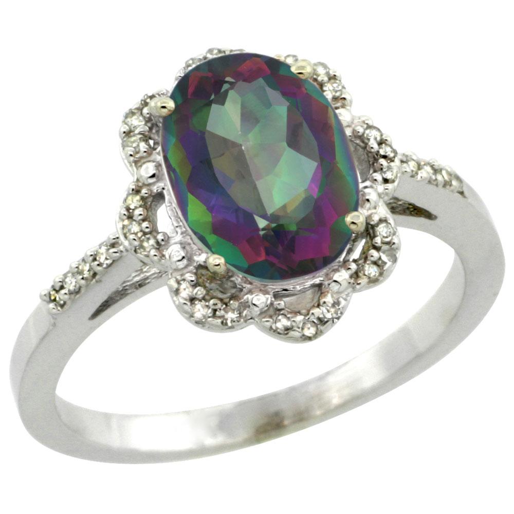 10K White Gold Natural Diamond Halo Mystic Topaz Engagement Ring Oval 9x7mm, sizes 5-10