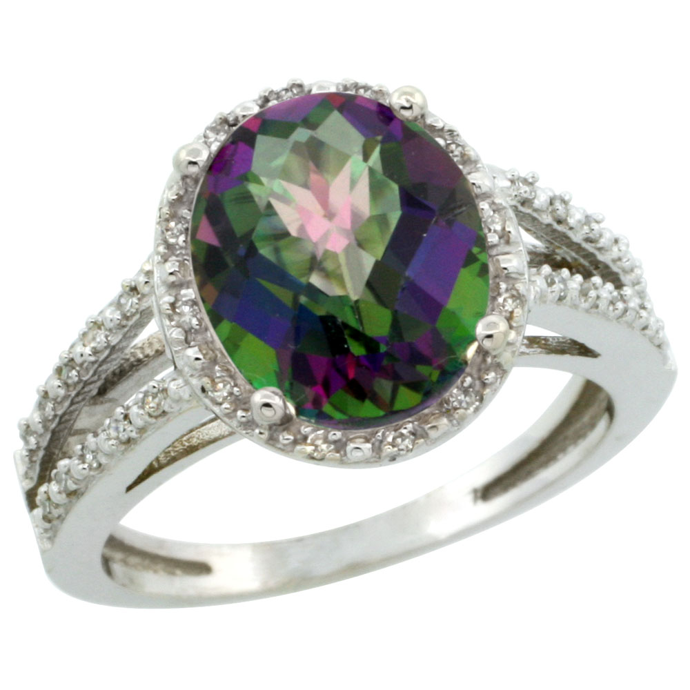 14K White Gold Natural Mystic Topaz Diamond Halo Ring Oval 11x9mm, sizes 5-10