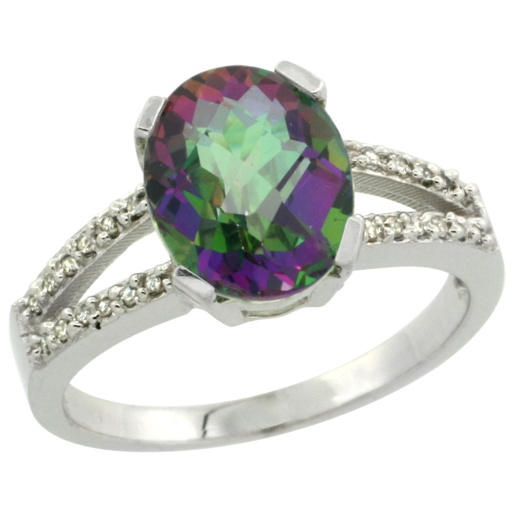 10K White Gold Natural Diamond Mystic Topaz Engagement Ring Oval 10x8mm, sizes 5-10