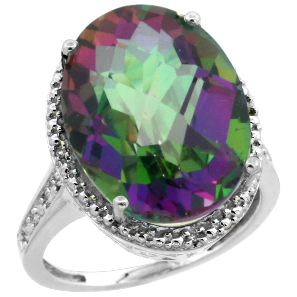 10K White Gold Natural Diamond Mystic Topaz Ring Oval 18x13mm, sizes 5-10