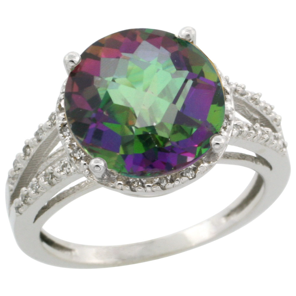 10K White Gold Natural Diamond Mystic Topaz Ring Round 11mm, sizes 5-10