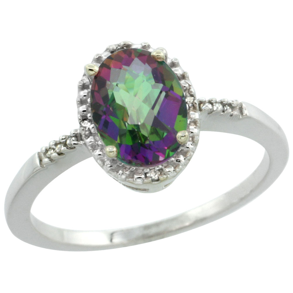 10K White Gold Natural Diamond Mystic Topaz Ring Oval 8x6mm, sizes 5-10
