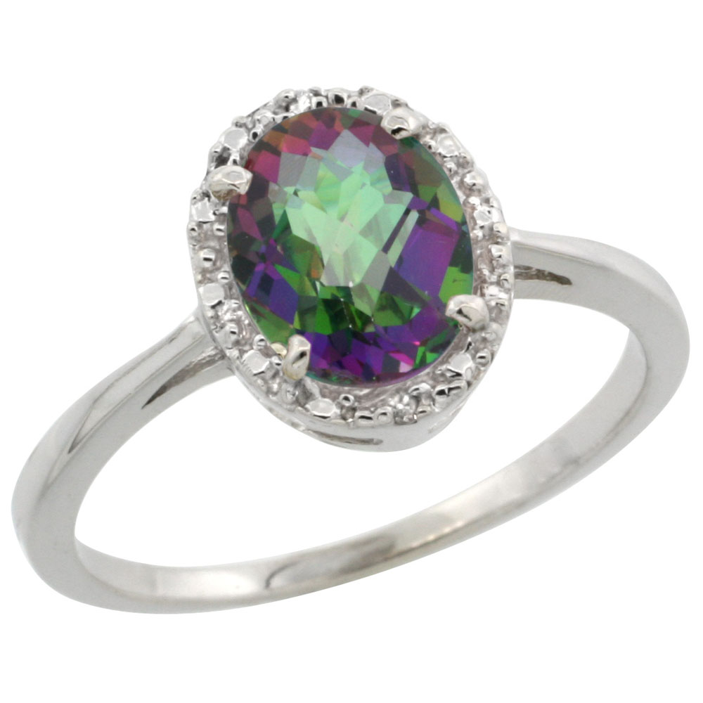 10k White Gold Natural Mystic Topaz Ring Oval 8x6 mm Diamond Halo, sizes 5-10