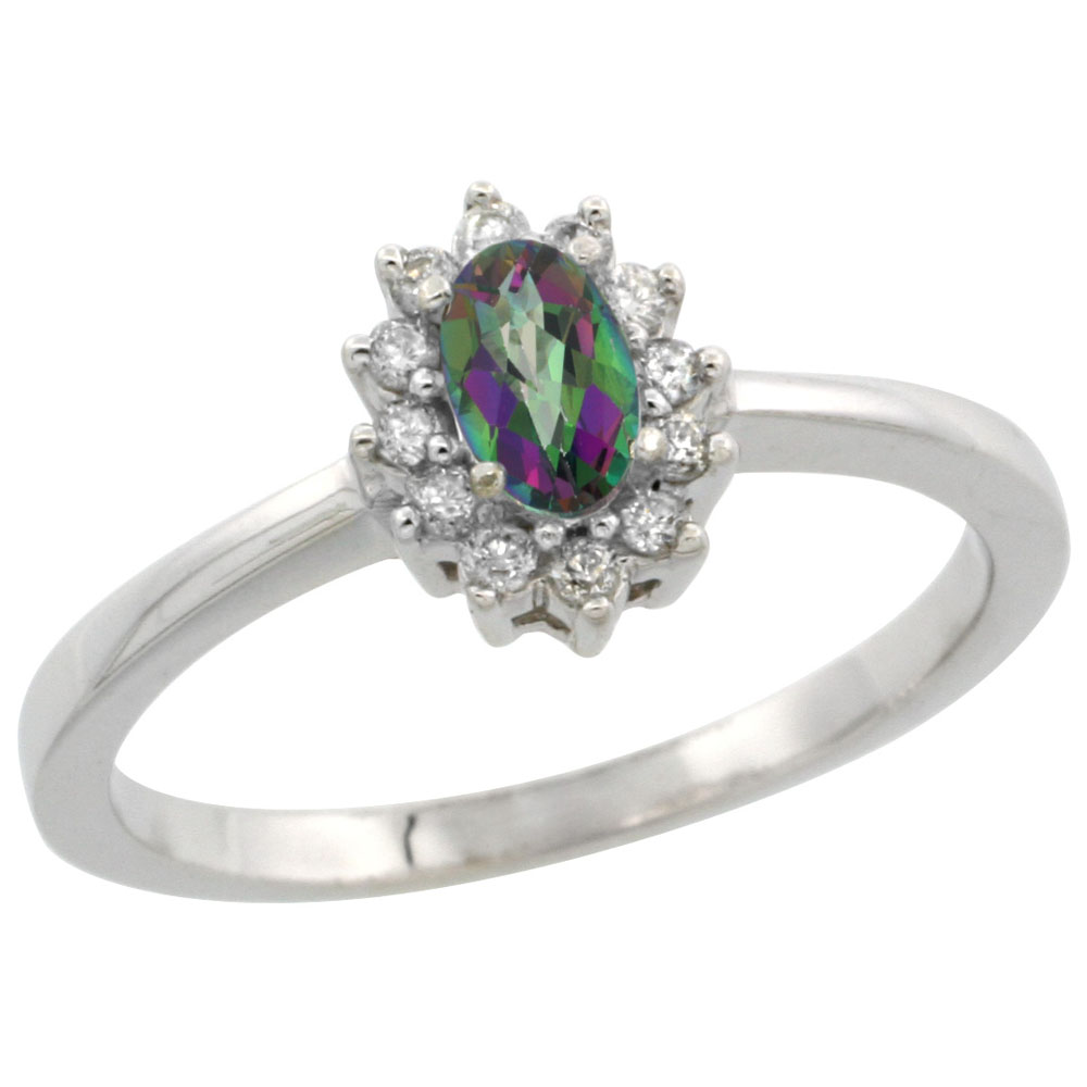 10k White Gold Natural Mystic Topaz Ring Oval 5x3mm Diamond Halo, sizes 5-10