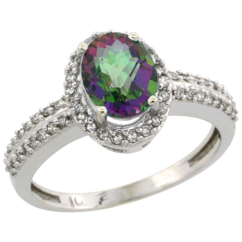 14K White Gold Natural Mystic Topaz Ring Oval 8x6mm Diamond Halo, sizes 5-10