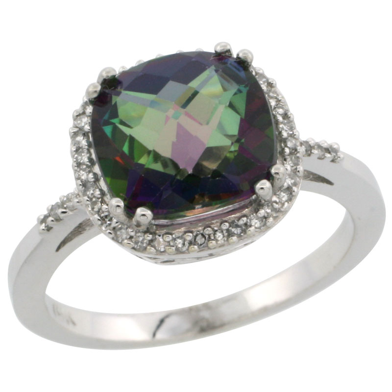 14K White Gold Diamond Natural Mystic Topaz Ring Cushion-cut 9x9mm, sizes 5-10