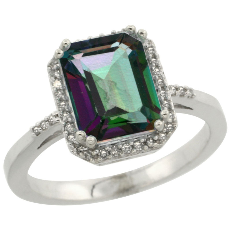 14K White Gold Diamond Natural Mystic Topaz Ring Emerald-cut 9x7mm, sizes 5-10