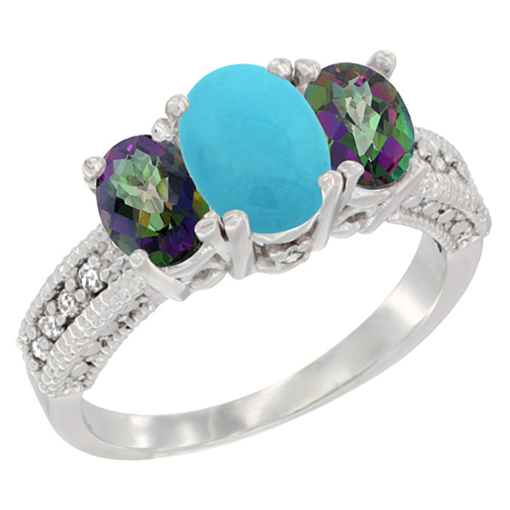 10K White Gold Diamond Natural Turquoise Ring Oval 3-stone with Mystic Topaz, sizes 5 - 10