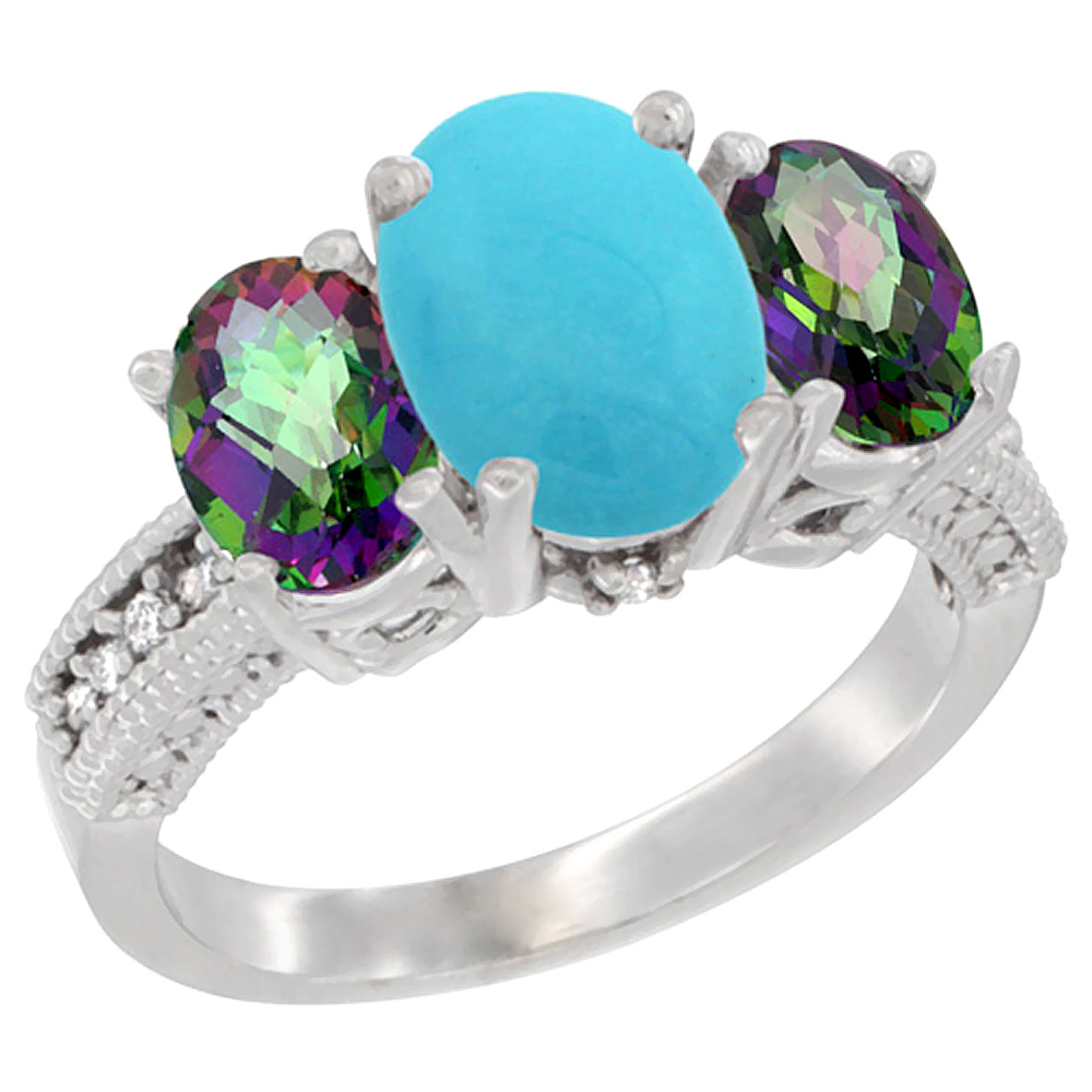 10K White Gold Diamond Natural Turquoise Ring 3-Stone Oval 8x6mm with Mystic Topaz, sizes5-10