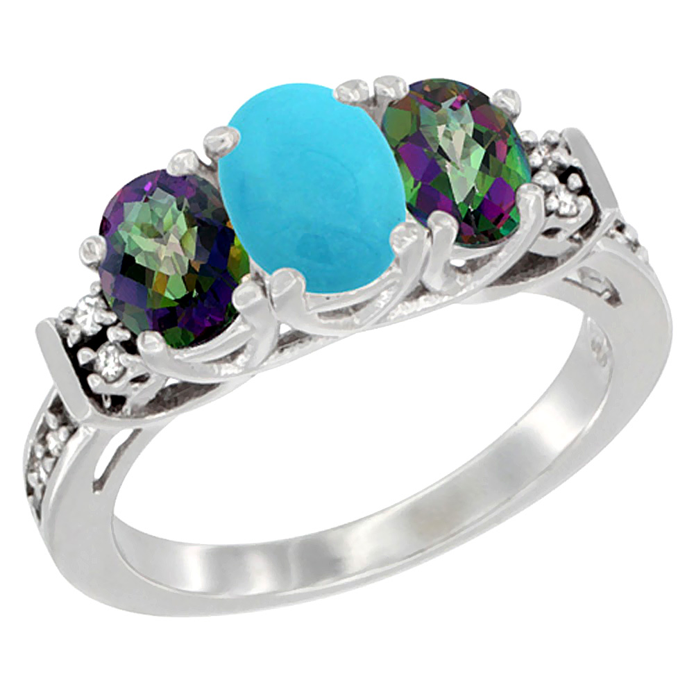 10K White Gold Natural Turquoise & Mystic Topaz Ring 3-Stone Oval Diamond Accent, sizes 5-10