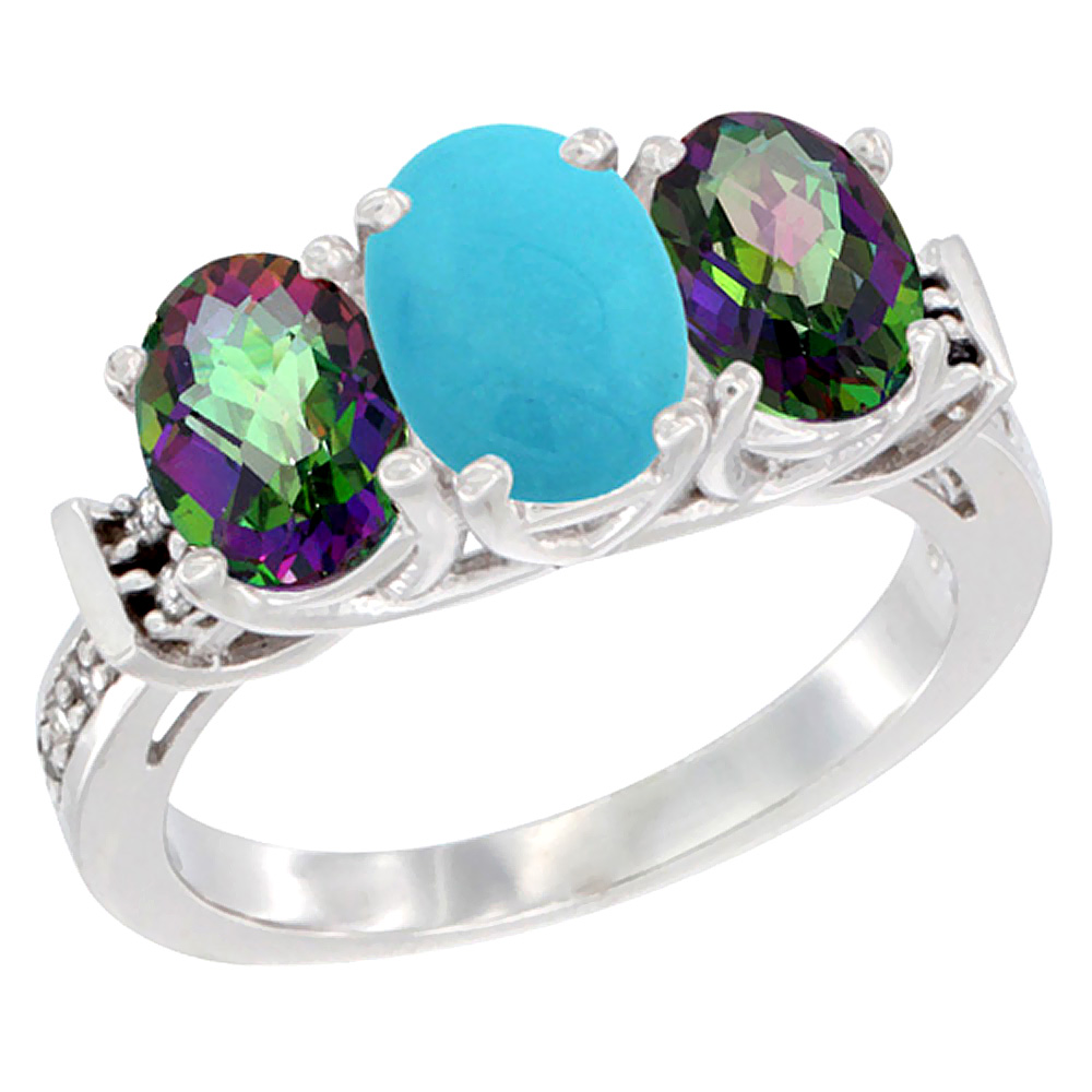 10K White Gold Natural Turquoise & Mystic Topaz Sides Ring 3-Stone Oval Diamond Accent, sizes 5 - 10