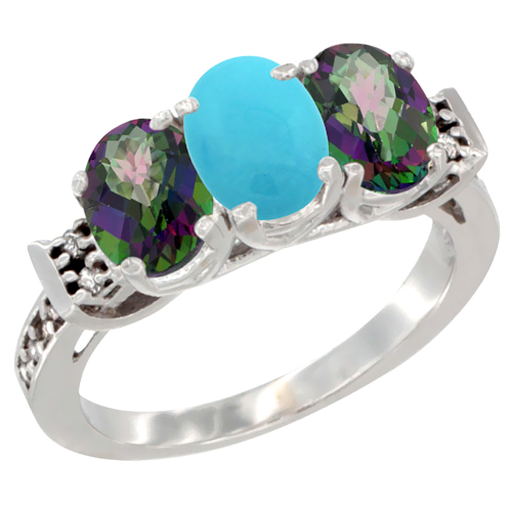 10K White Gold Natural Turquoise & Mystic Topaz Sides Ring 3-Stone Oval 7x5 mm Diamond Accent, sizes 5 - 10