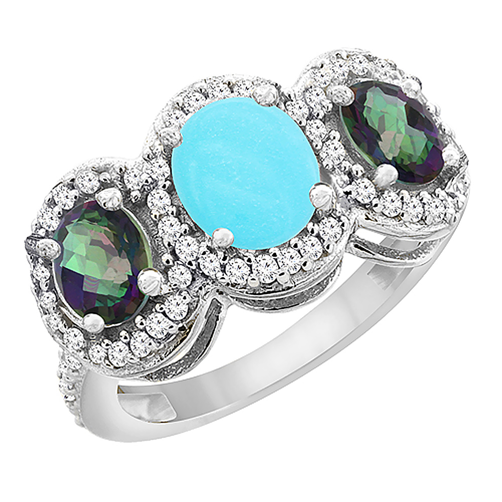 10K White Gold Natural Turquoise & Mystic Topaz 3-Stone Ring Oval Diamond Accent, sizes 5 - 10