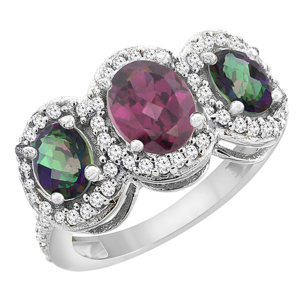 10K White Gold Natural Rhodolite & Mystic Topaz 3-Stone Ring Oval Diamond Accent, sizes 5 - 10