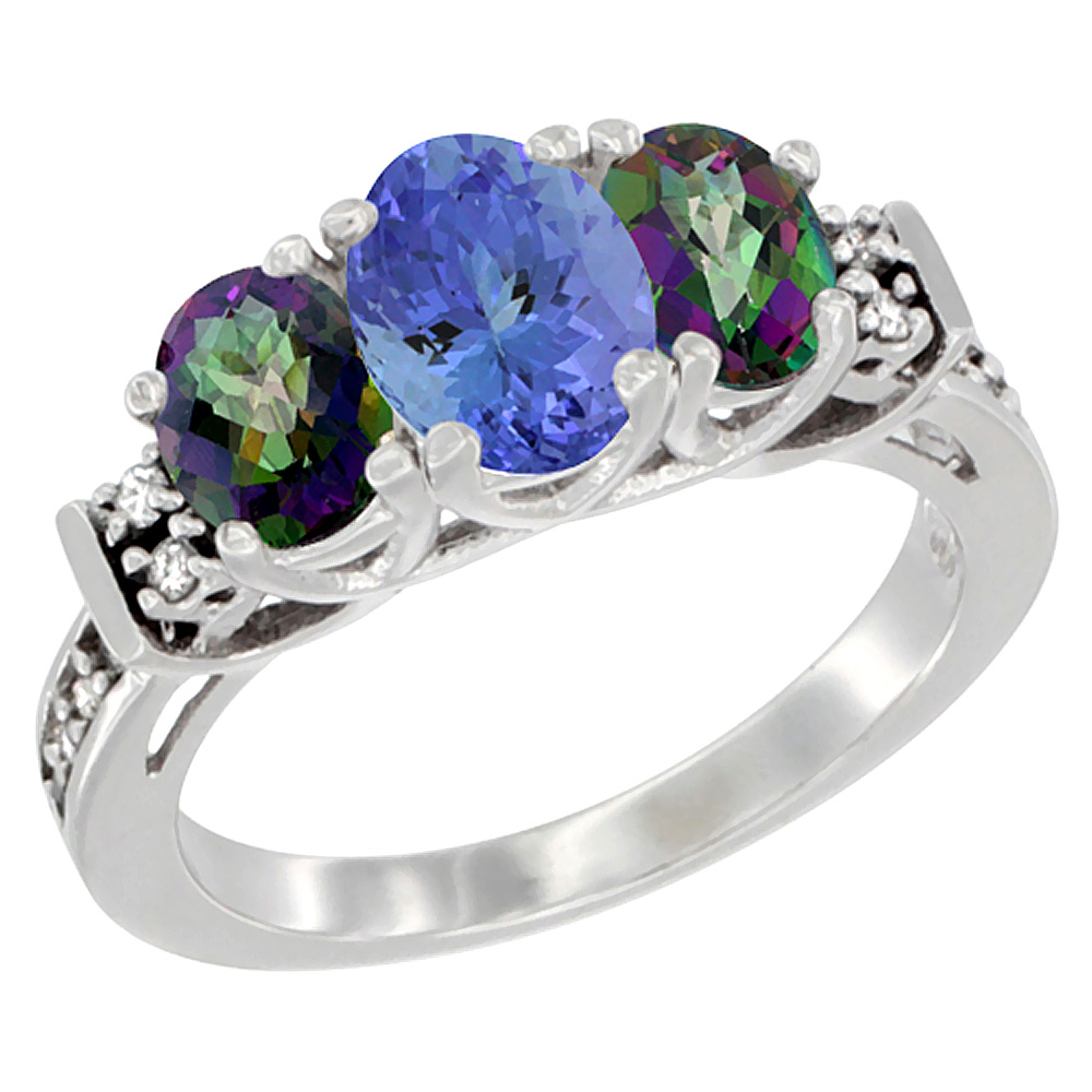 14K White Gold Natural Tanzanite & Mystic Topaz Ring 3-Stone Oval Diamond Accent, sizes 5-10