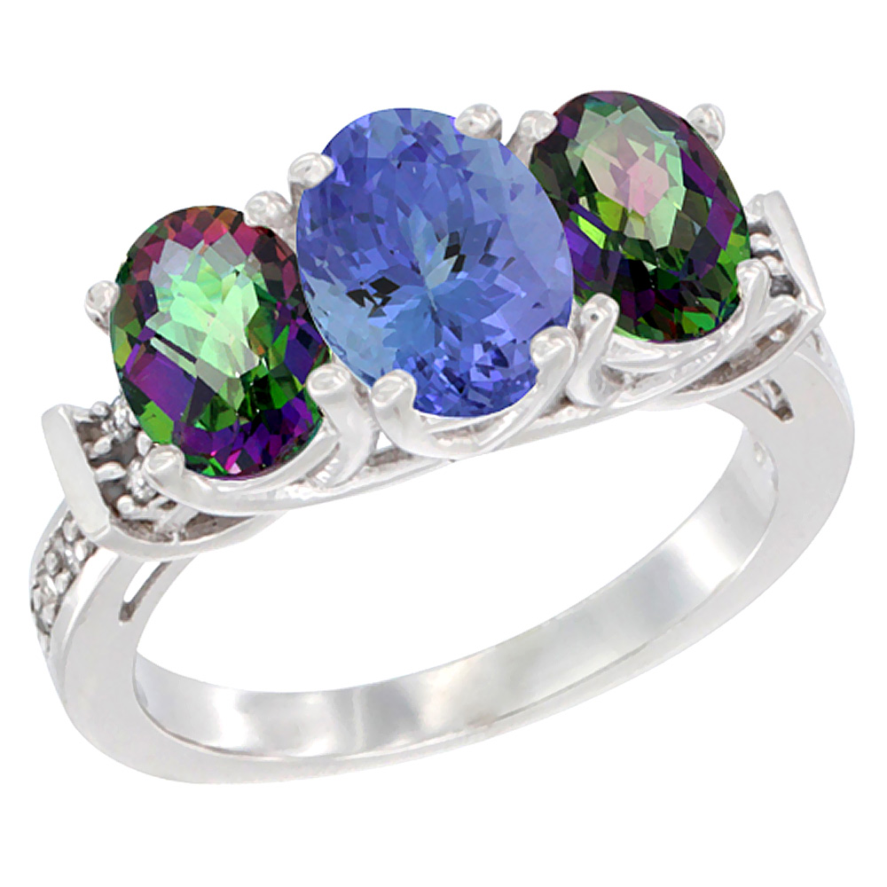 14K White Gold Natural Tanzanite & Mystic Topaz Sides Ring 3-Stone Oval Diamond Accent, sizes 5 - 10