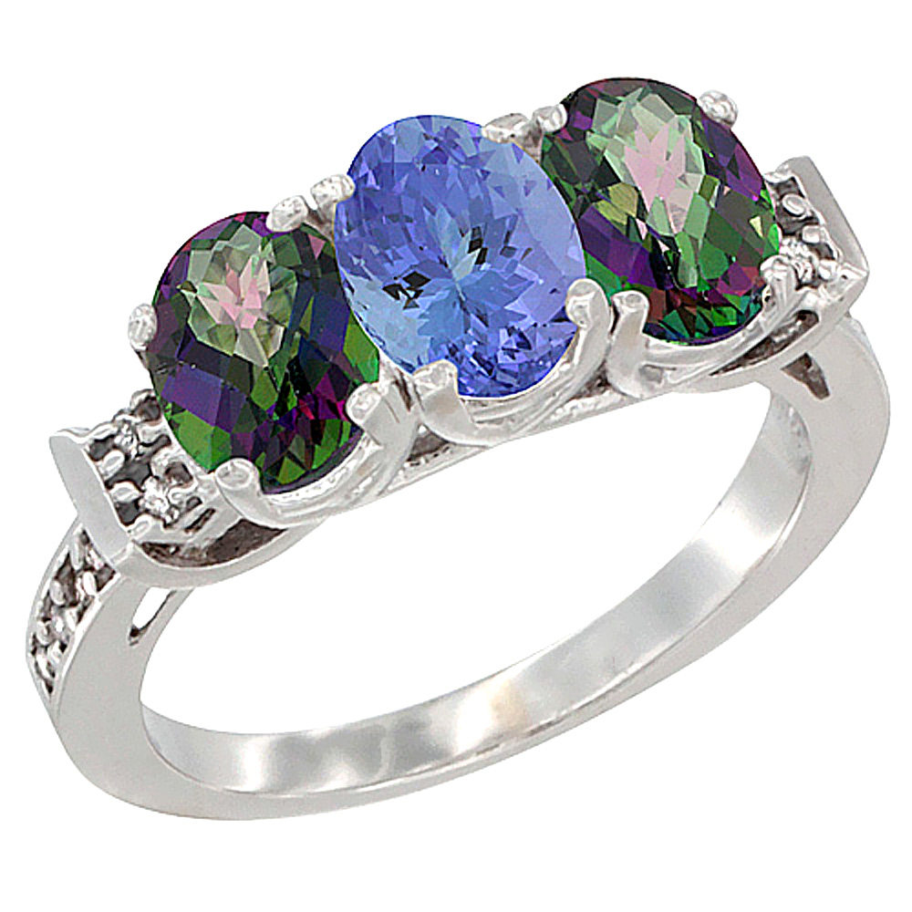14K White Gold Natural Tanzanite & Mystic Topaz Sides Ring 3-Stone 7x5 mm Oval Diamond Accent, sizes 5 - 10