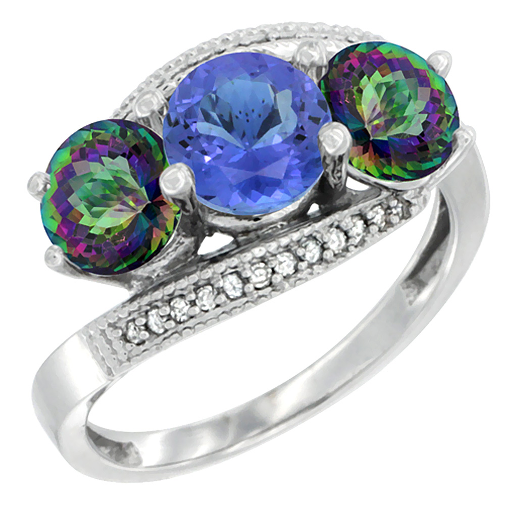 14K White Gold Natural Tanzanite & Mystic Topaz Sides 3 stone Ring Round 6mm Diamond Accent, sizes 5 - 10