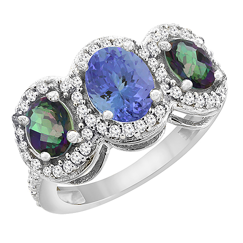 14K White Gold Natural Tanzanite & Mystic Topaz 3-Stone Ring Oval Diamond Accent, sizes 5 - 10