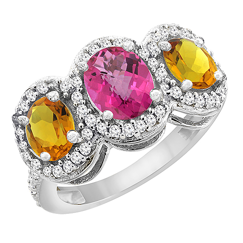 14K White Gold Natural Pink Sapphire & Citrine 3-Stone Ring Oval Diamond Accent, sizes 5 - 10