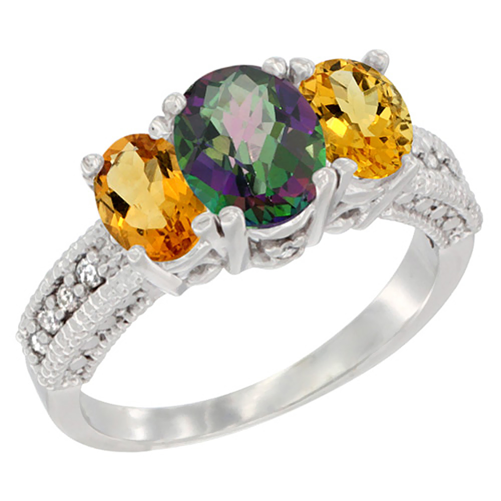 10K White Gold Diamond Natural Mystic Topaz Ring Oval 3-stone with Citrine, sizes 5 - 10