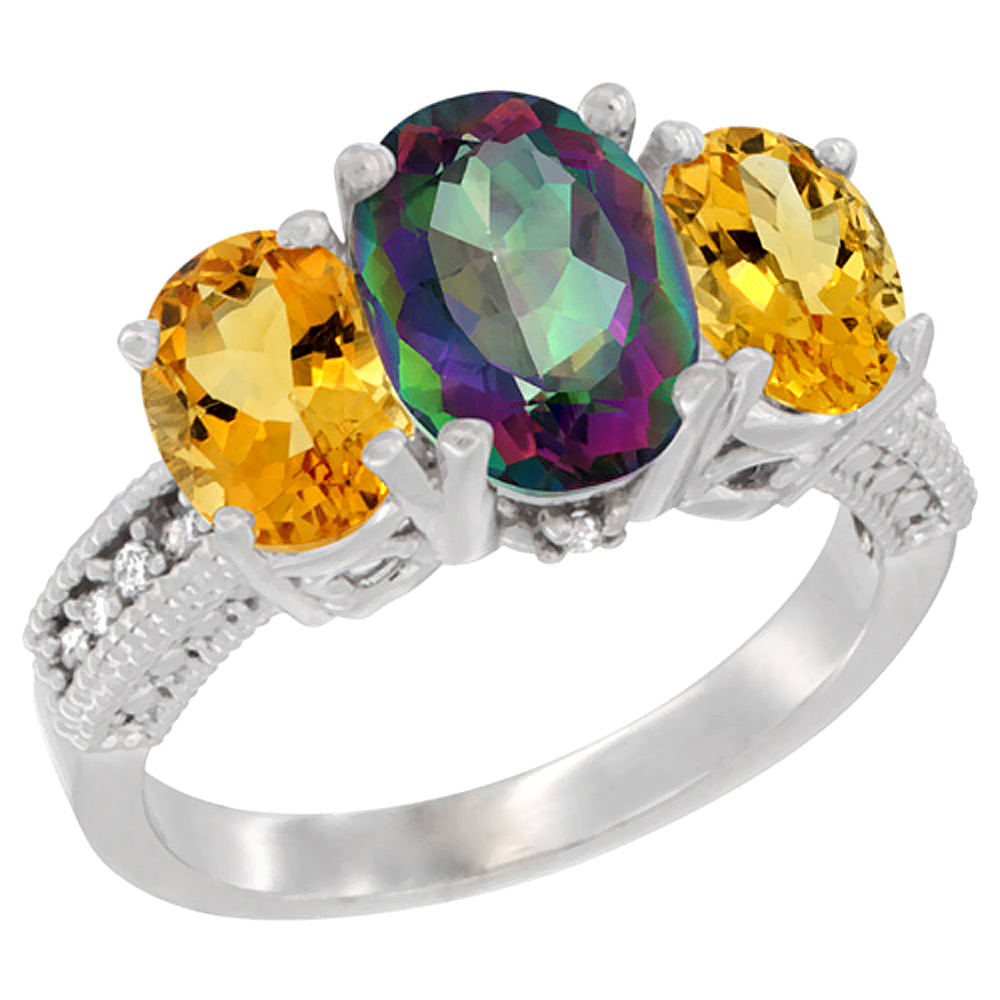 10K White Gold Diamond Natural Mystic Topaz Ring 3-Stone Oval 8x6mm with Citrine, sizes5-10