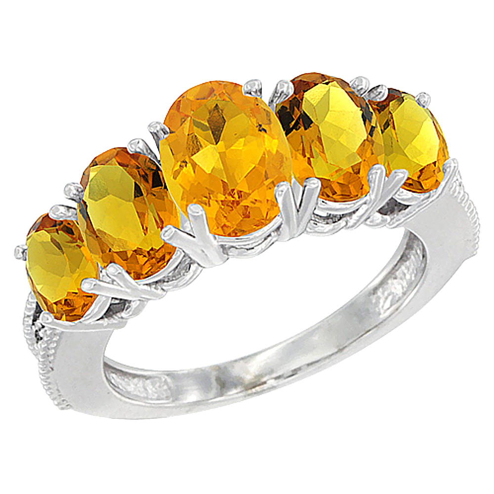 10K White Gold Diamond Natural Citrine Ring 5-stone Oval 8x6 Ctr,7x5,6x4 sides, sizes 5 - 10