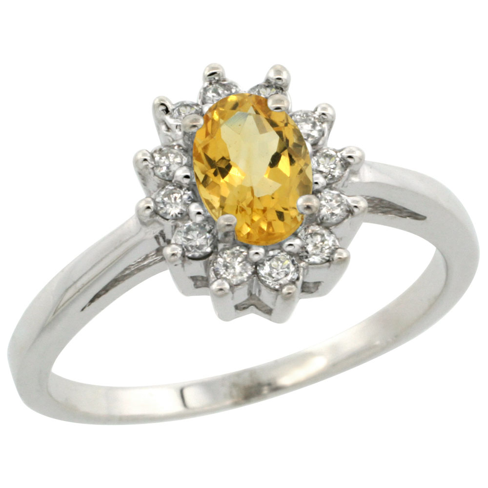 14K White Gold Natural Citrine Flower Diamond Halo Ring Oval 6x4 mm, sizes 5-10