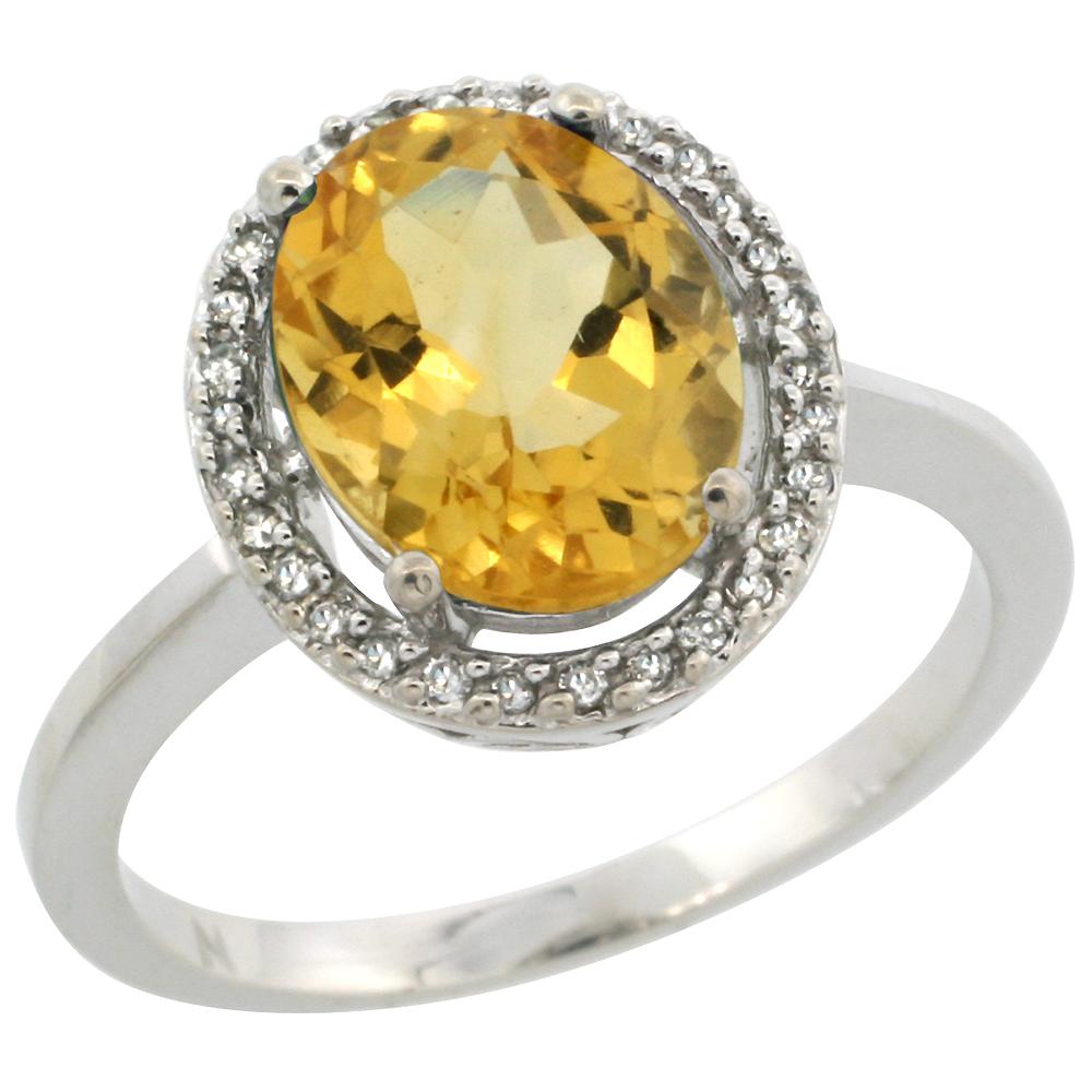 10K White Gold Diamond Halo Natural Citrine Engagement Ring Oval 10x8 mm, sizes 5-10