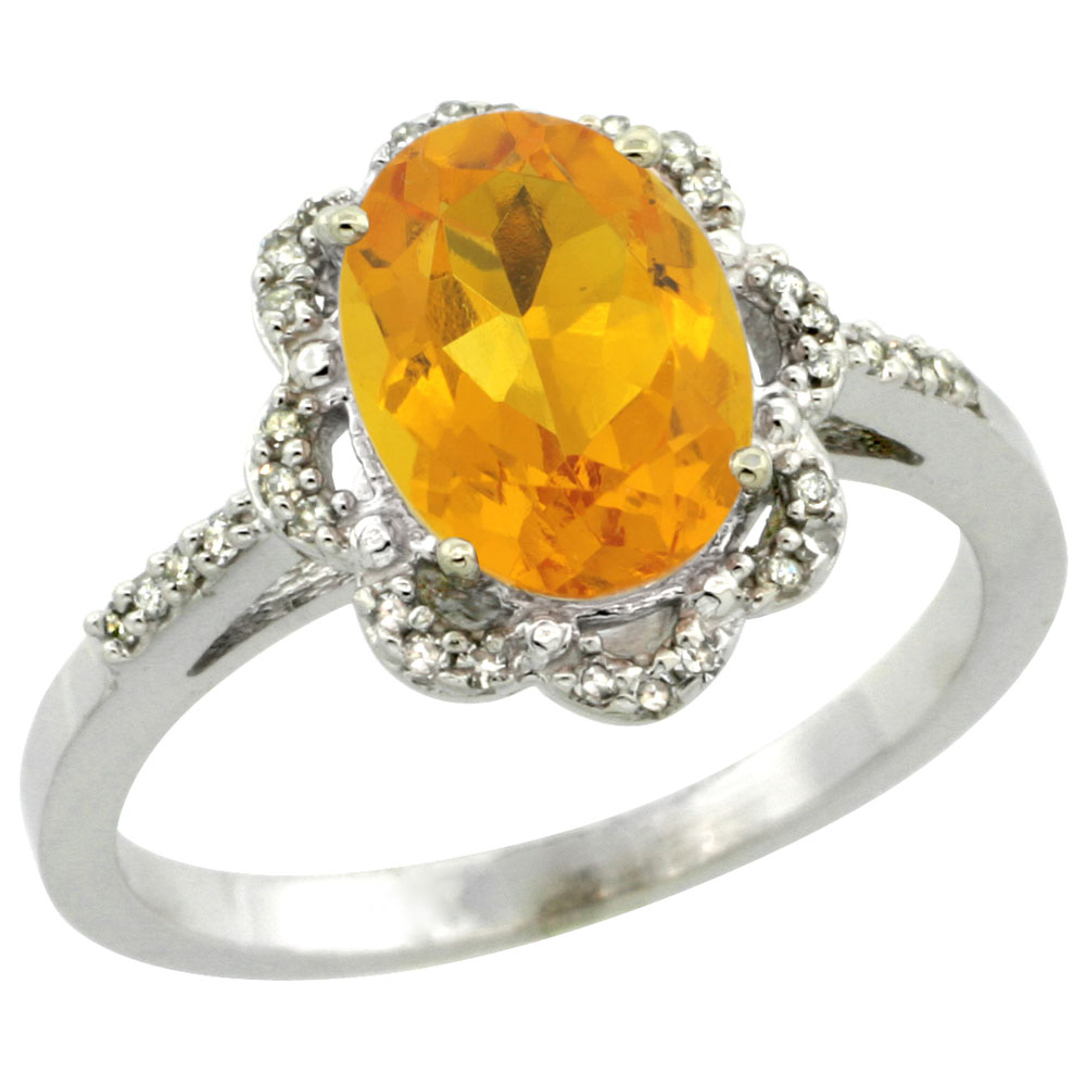 10K White Gold Diamond Halo Natural Citrine Engagement Ring Oval 9x7mm, sizes 5-10