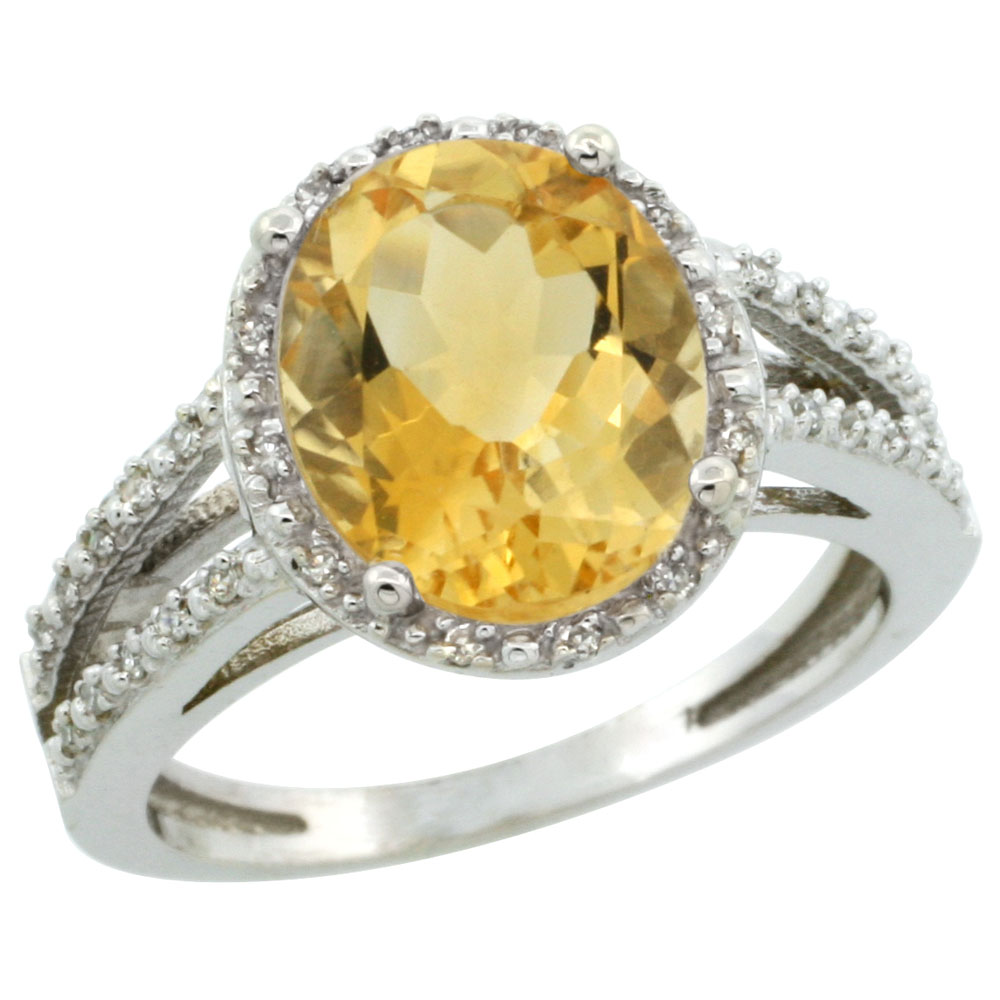 14K White Gold Natural Citrine Diamond Halo Ring Oval 11x9mm, sizes 5-10