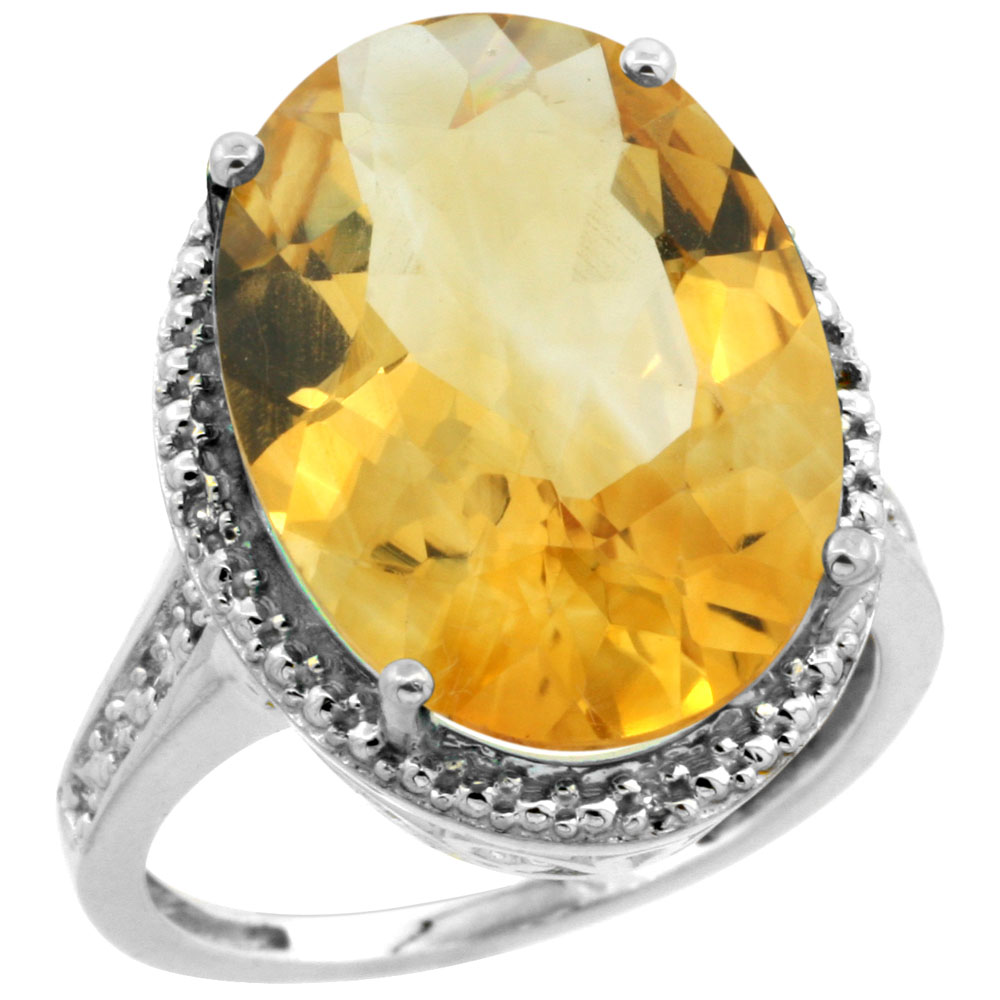 14K White Gold Diamond Natural Citrine Ring Oval 18x13mm, sizes 5-10