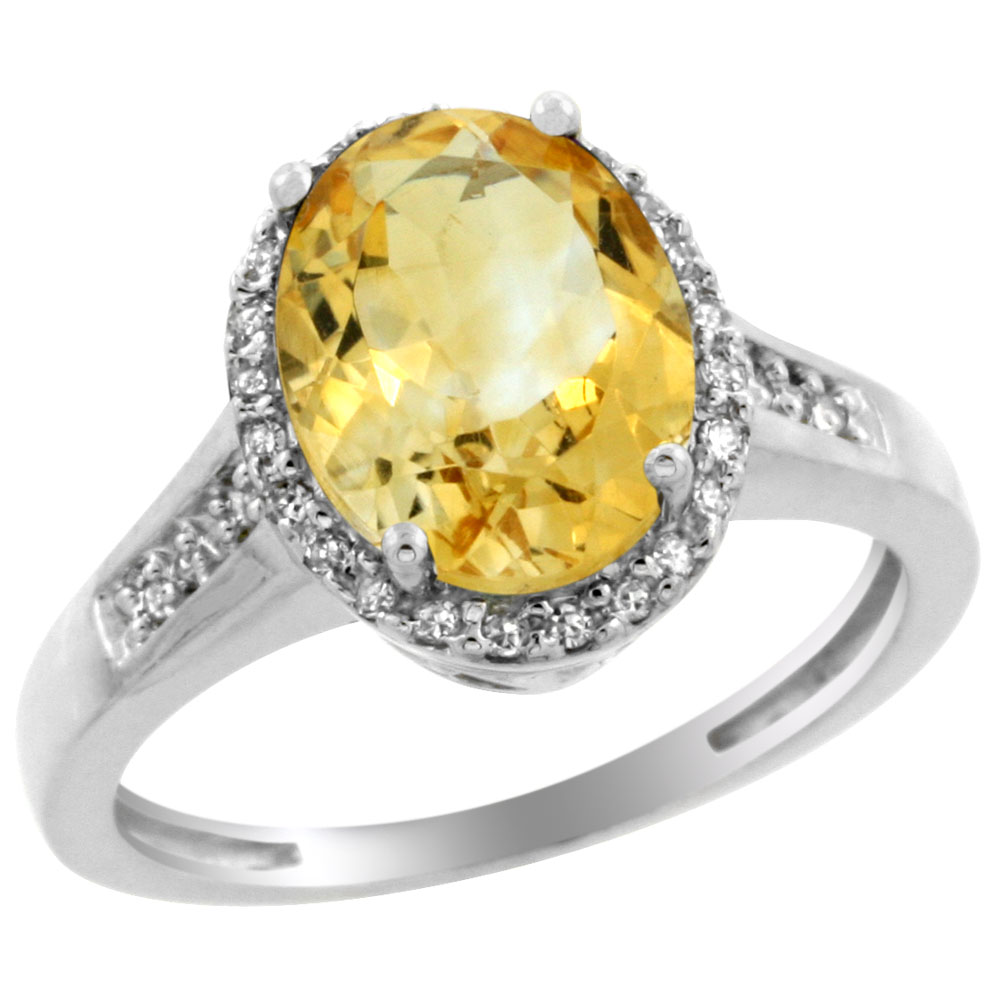 10K White Gold Diamond Natural Citrine Engagement Ring Oval 10x8mm, sizes 5-10