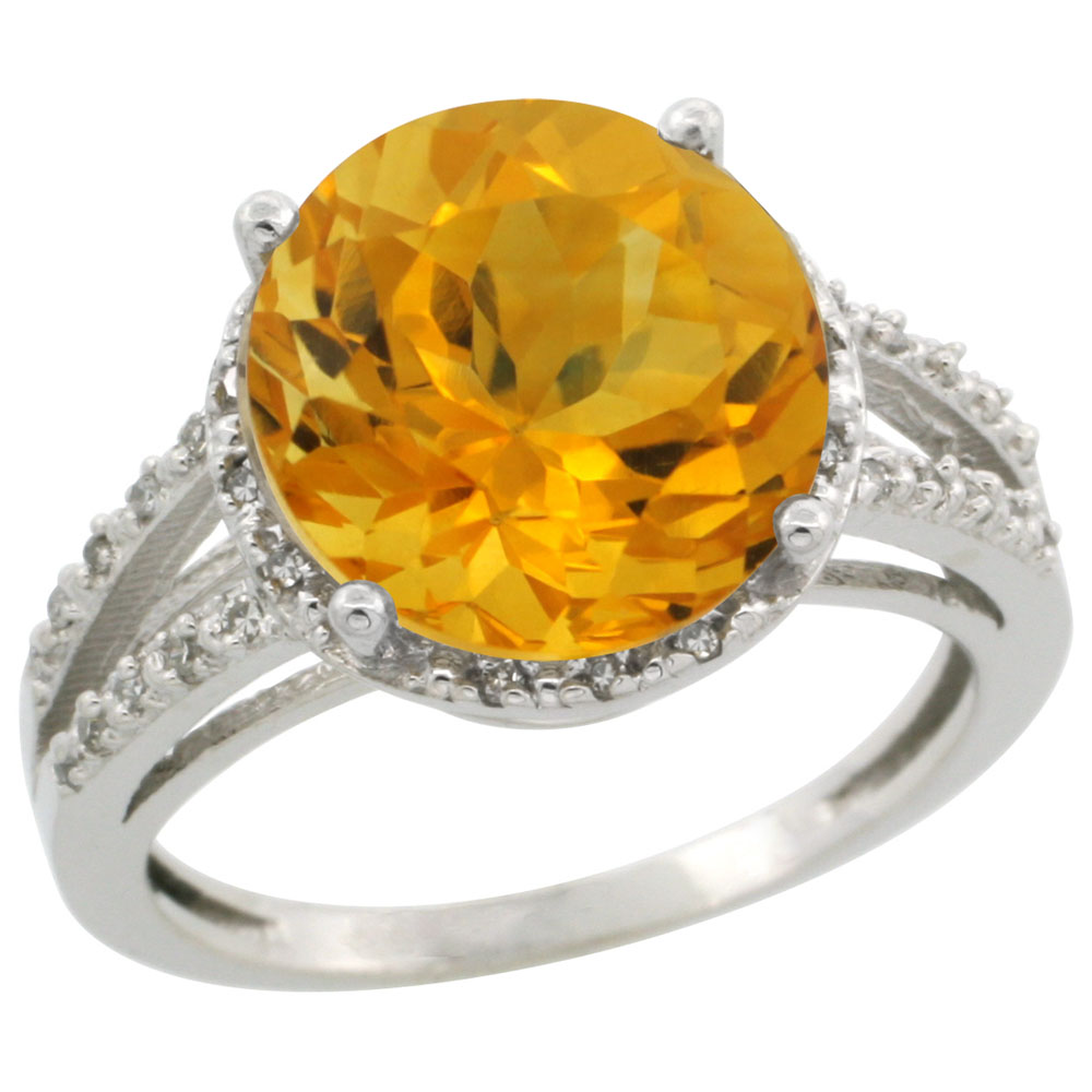 14K White Gold Diamond Natural Citrine Ring Round 11mm, sizes 5-10