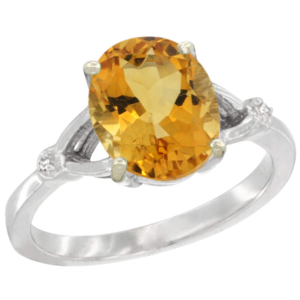 14K White Gold Diamond Natural Citrine Engagement Ring Oval 10x8mm, sizes 5-10
