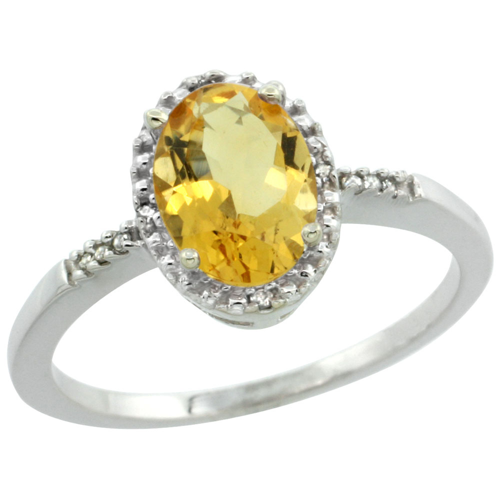 10K White Gold Diamond Natural Citrine Ring Oval 8x6mm, sizes 5-10