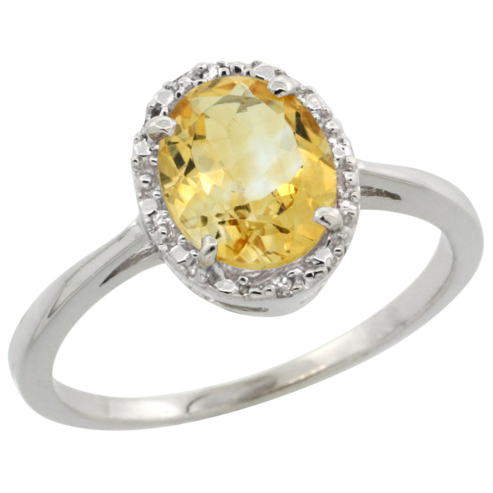 14K White Gold Natural Citrine Ring Oval 8x6 mm Diamond Halo, sizes 5-10