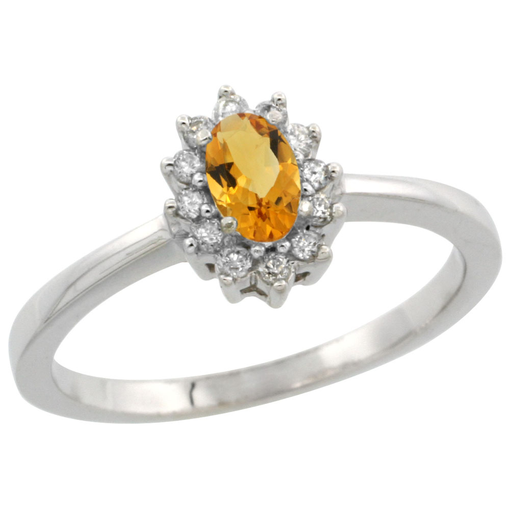 14K White Gold Natural Citrine Ring Oval 5x3mm Diamond Halo, sizes 5-10