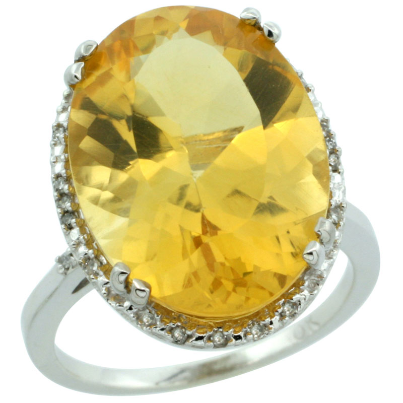 10k White Gold Natural Citrine Ring Large Oval 18x13mm Diamond Halo, sizes 5-10