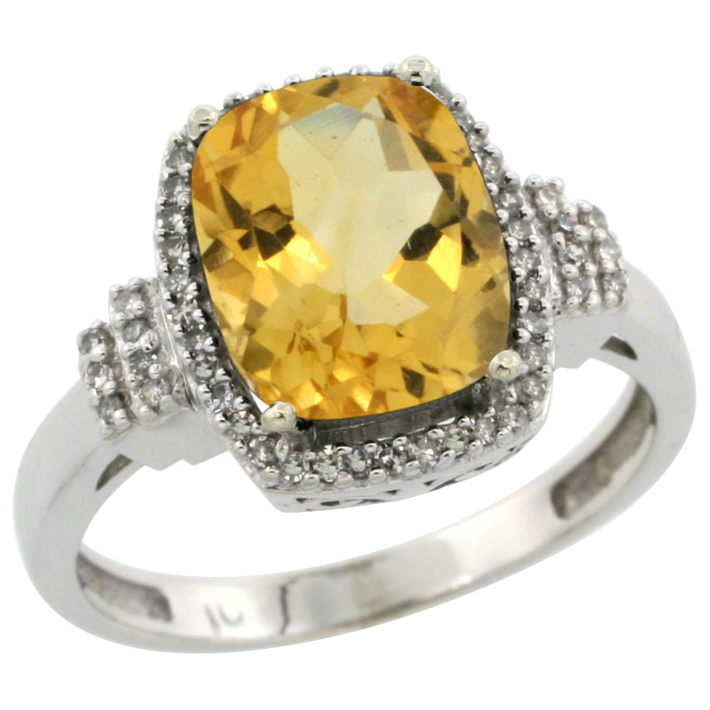10k White Gold Natural Citrine Ring Cushion-cut 9x7mm Diamond Halo, sizes 5-10