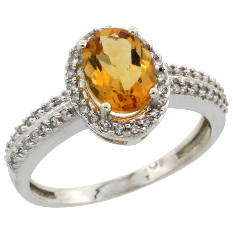 10k White Gold Natural Citrine Ring Oval 8x6mm Diamond Halo, sizes 5-10