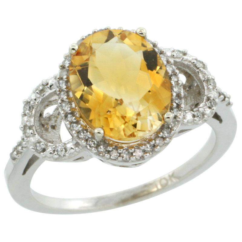 14K White Gold Diamond Natural Citrine Engagement Ring Oval 10x8mm, sizes 5-10