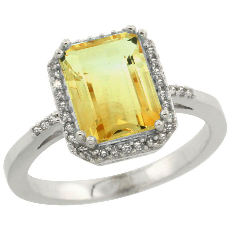 14K White Gold Diamond Natural Citrine Ring Emerald-cut 9x7mm, sizes 5-10