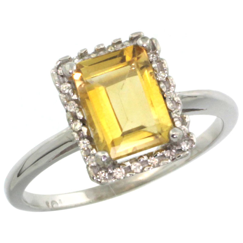 14K White Gold Diamond Natural Citrine Ring Emerald-cut 8x6mm, sizes 5-10