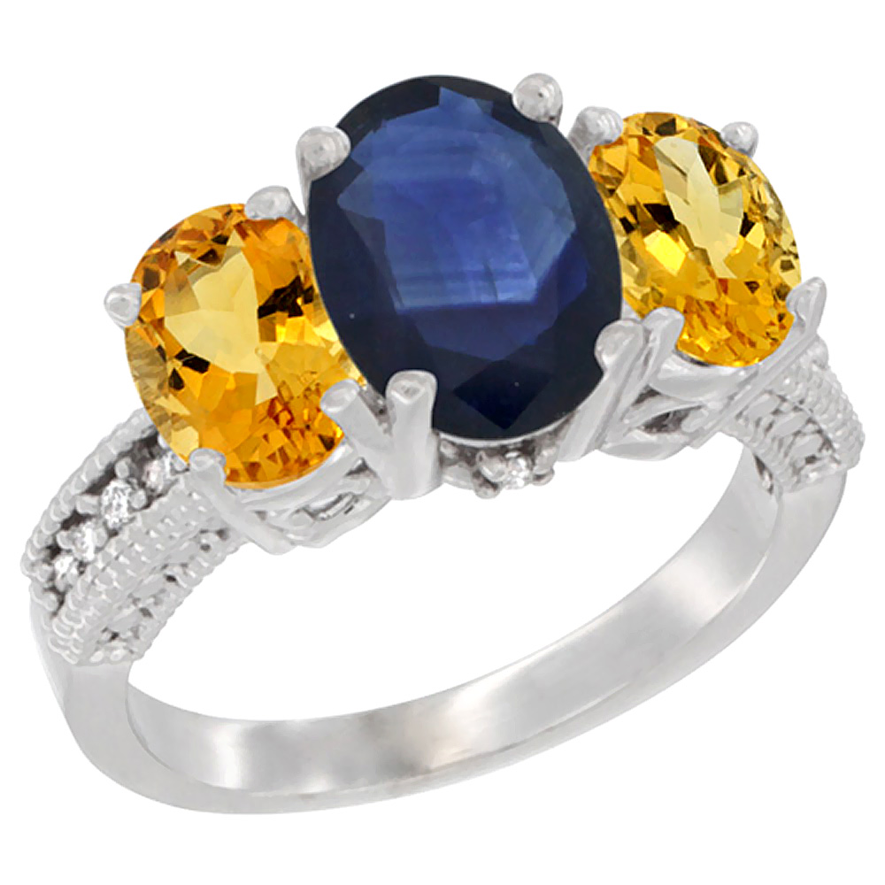 10K White Gold Diamond Natural Quality Blue Sapphire 3-stone Mothers Ring Oval 8x6mm with Citrine, sz5-10