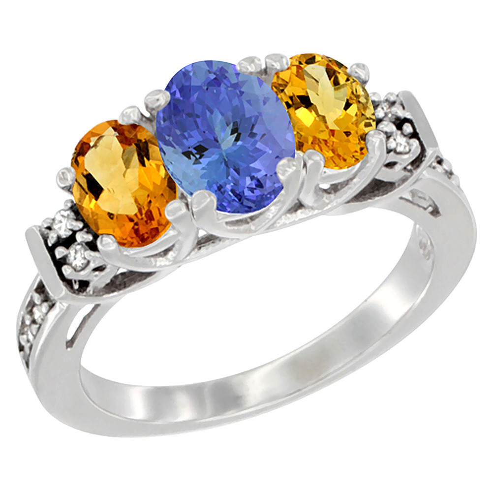 14K White Gold Natural Tanzanite & Citrine Ring 3-Stone Oval Diamond Accent, sizes 5-10